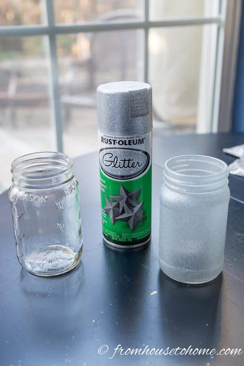 Use glitter spray paint to make the glass look frosted | DIY Frosted glass candle holders