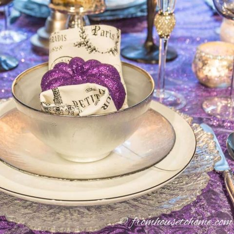 Purple and Silver Thanksgiving Table