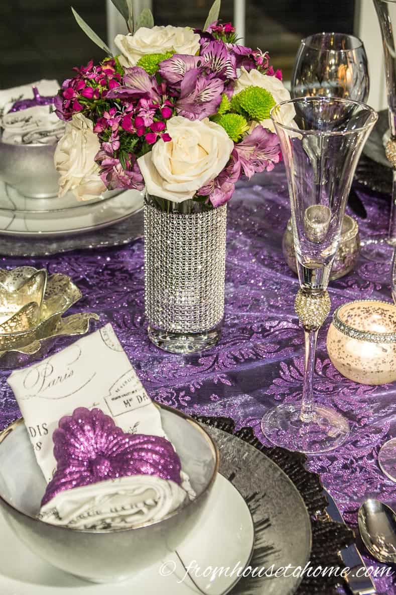 Purple and silver Thanksgiving table decor