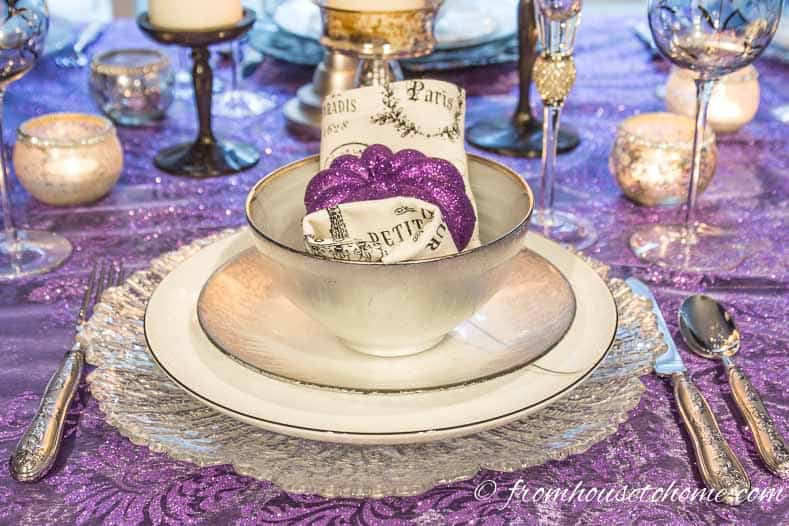 Purple and silver thanksgiving table setting