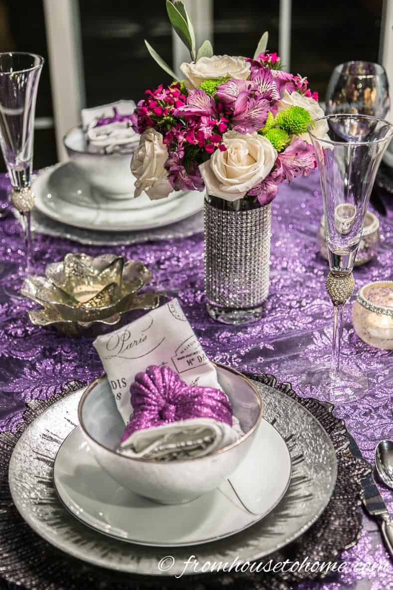 Purple and silver thanksgiving table decor with flower centerpiece