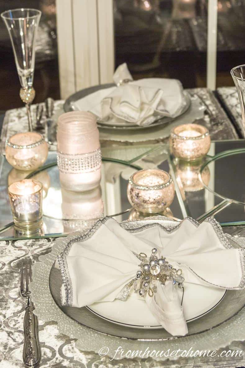 Silver and white table setting with mercury glass candle holers | Silver and White Winter Table Setting