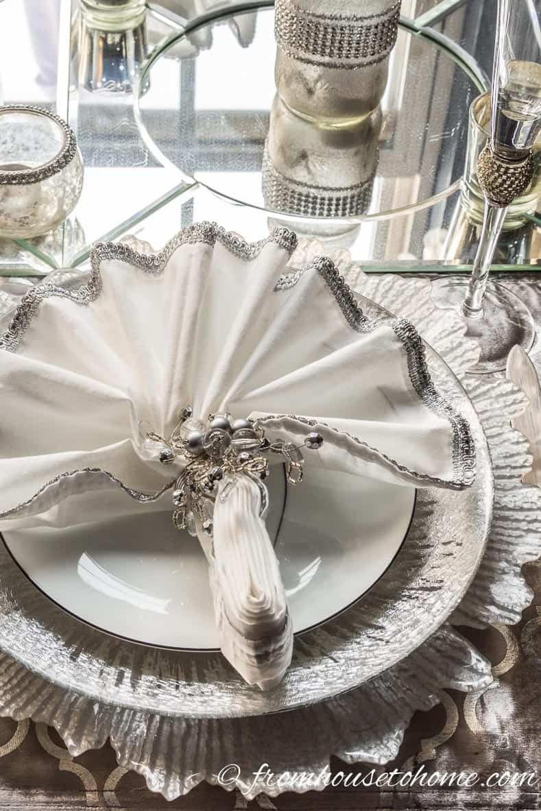 White and silver place setting | Silver and White Winter Table Setting