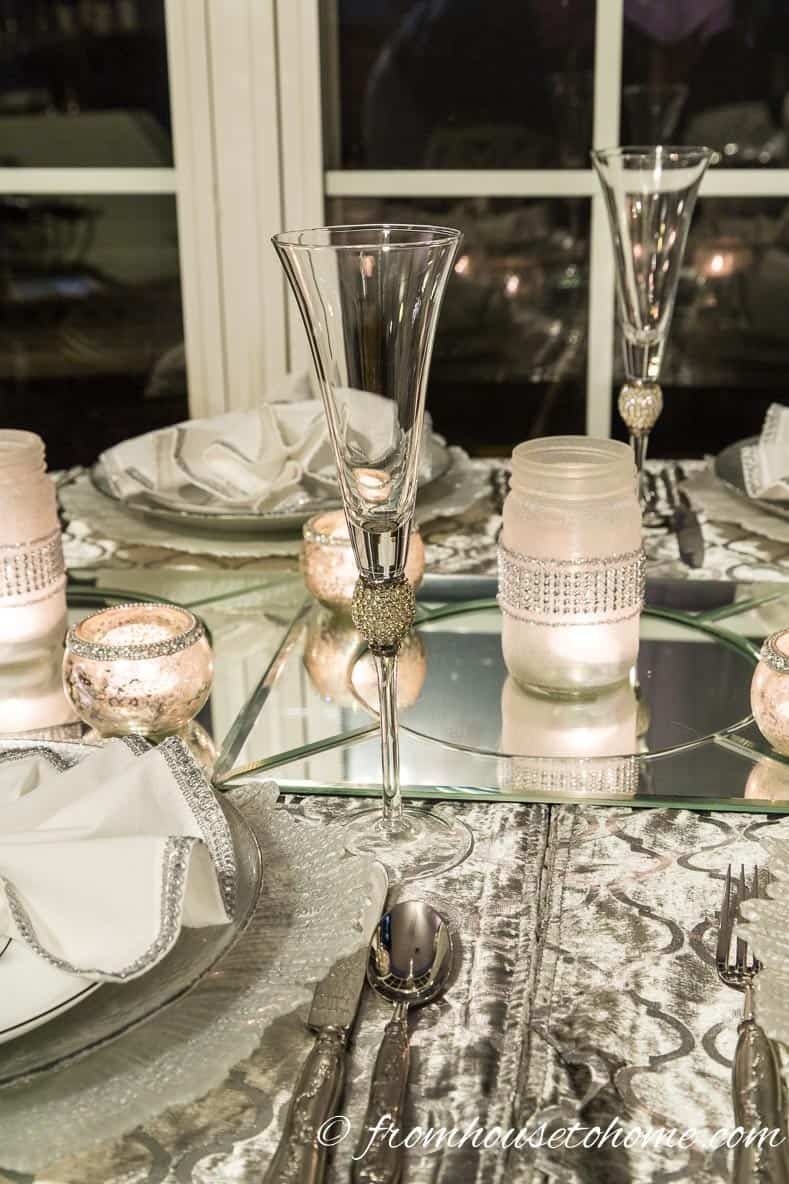 Mercury glass and DIY mason jar candle holders | Silver and White Winter Table Setting
