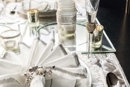 silver and white table setting