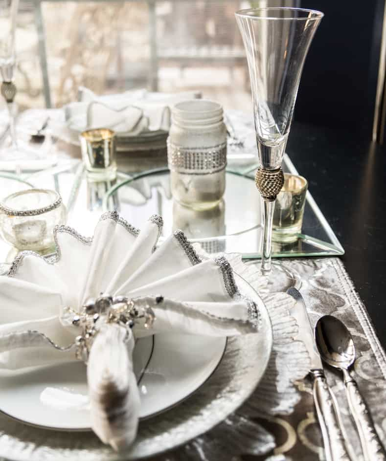 The flutes go with the silver and white table setting | Silver and White Winter Table Setting