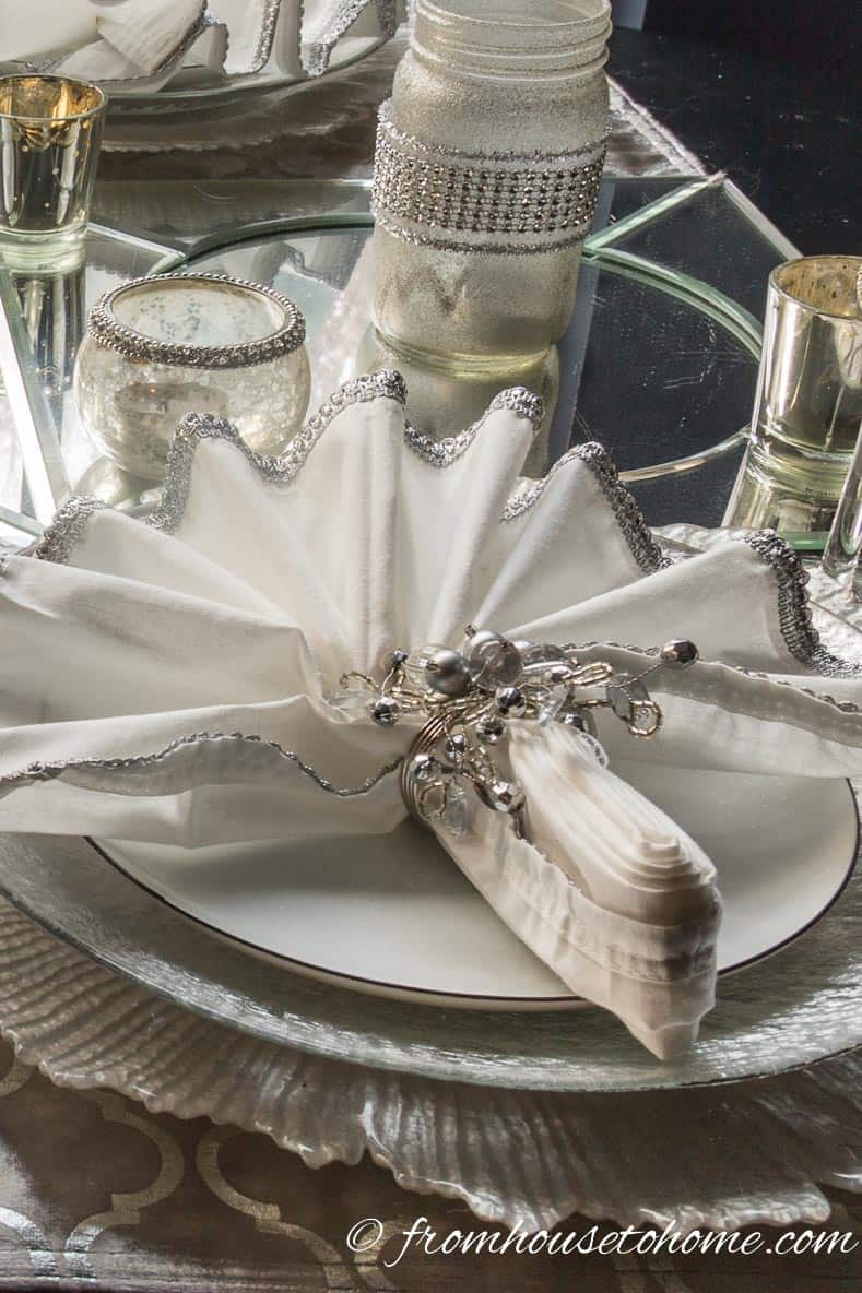 Silver and white table setting still looks good in daylight | Silver and White Winter Table Setting