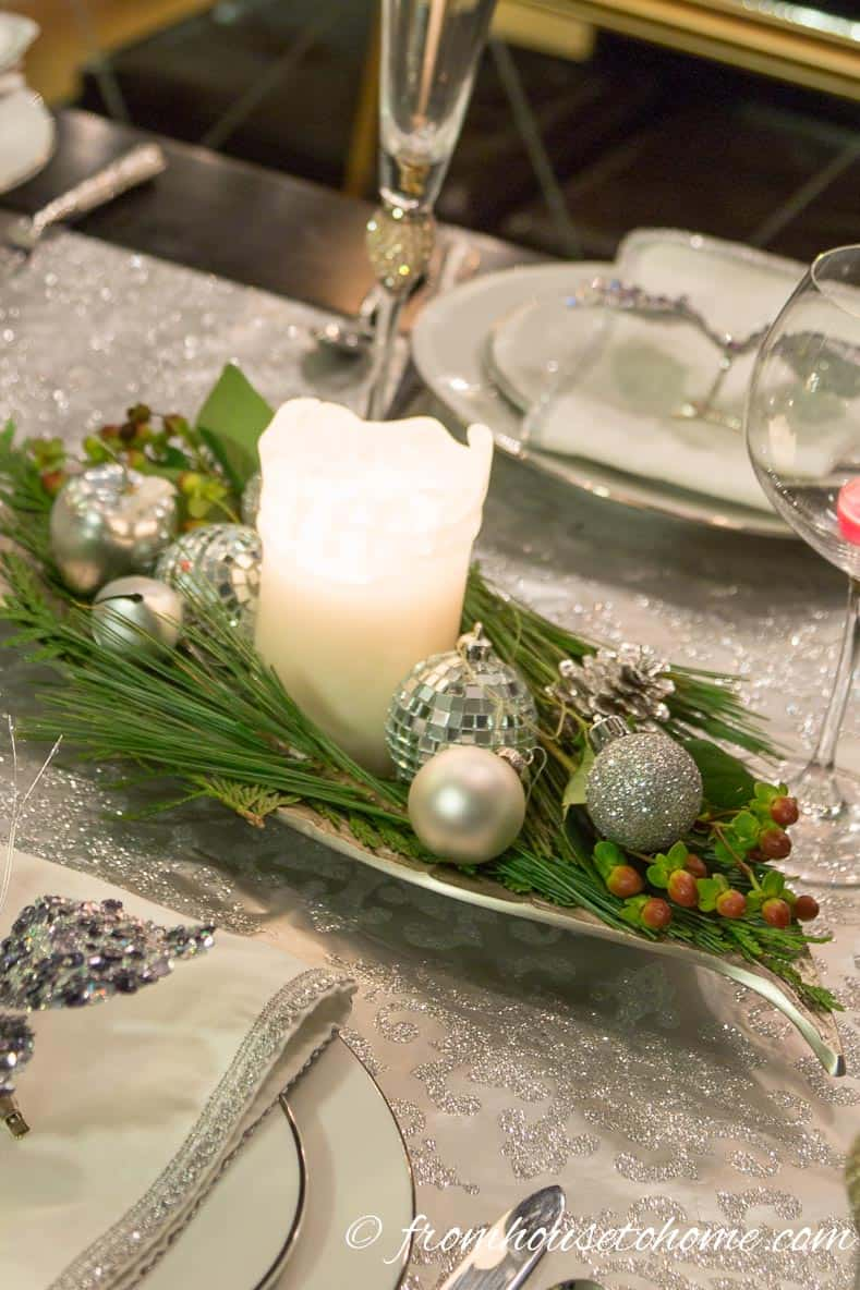 Last Minute Christmas table centerpiece | Easy Last Minute Christmas Table Ideas