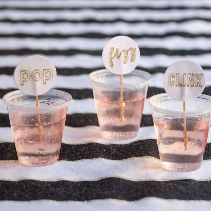 Pop, Fizz, Clink toothpicks in pink champagne jello shots