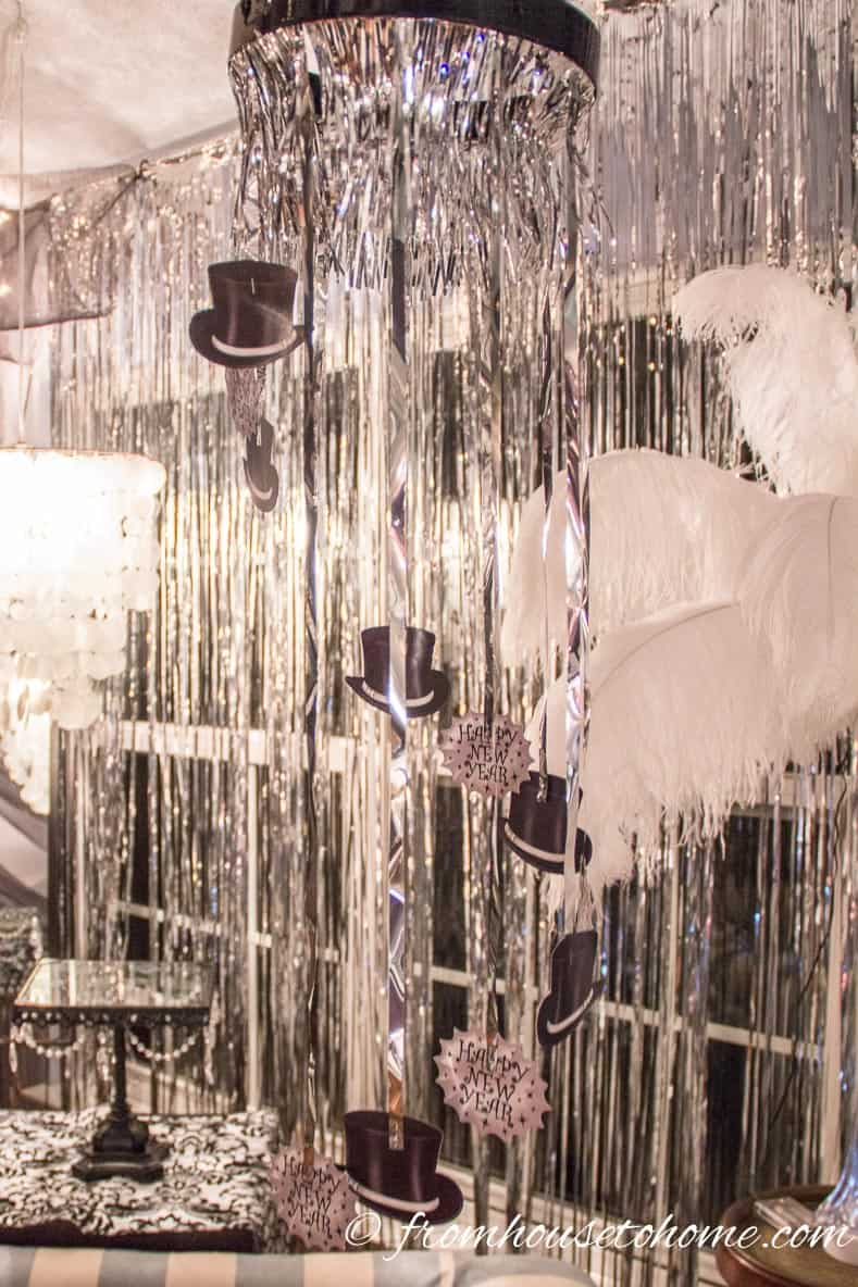 Silver sparkly curtains | Easy Last Minute New Year's Eve Party Decorations Ideas