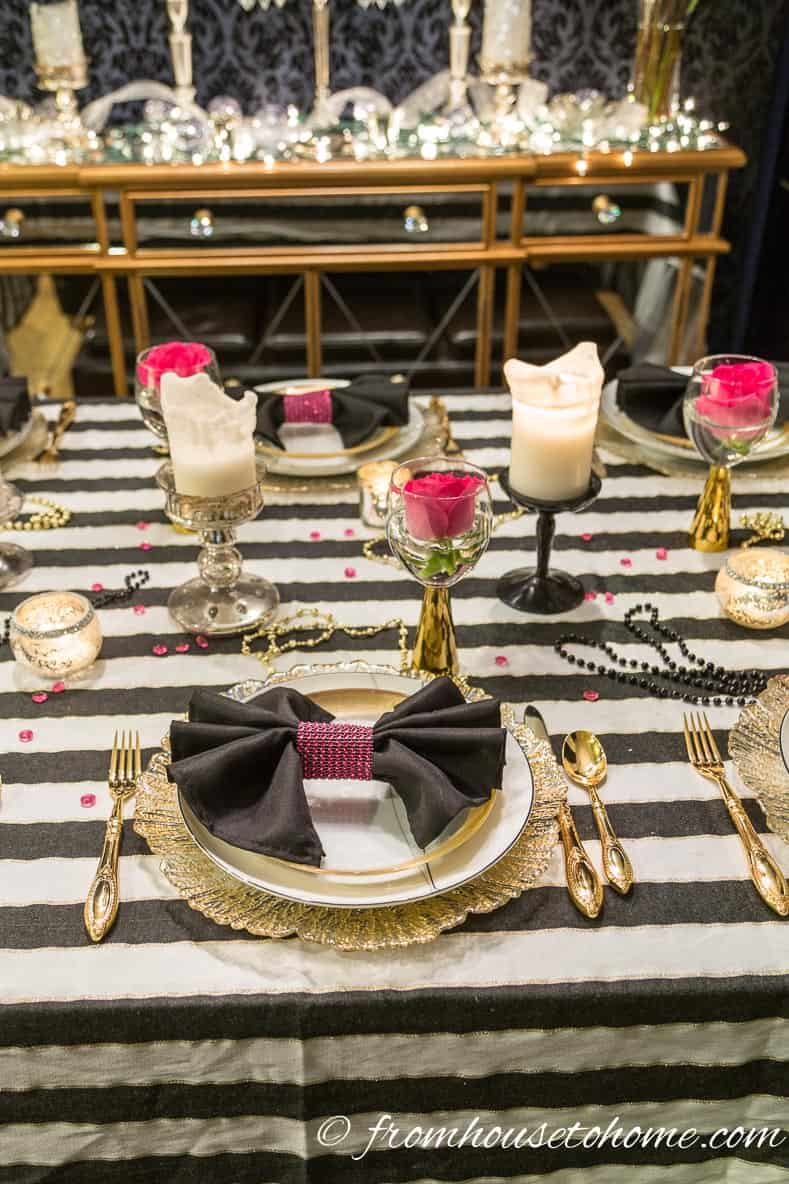 Black and white, pink and gold table decor | Kate Spade Inspired Table Setting