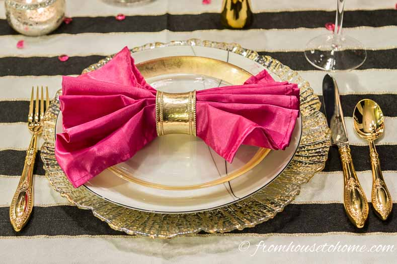 Pink napkins add a splash of color | Kate Spade Inspired Table Setting
