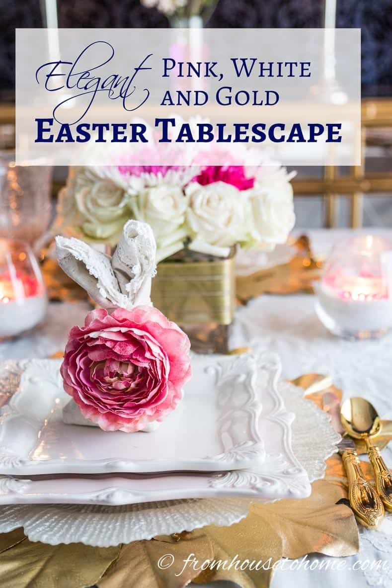 Elegant Pink and White Easter Tablescape