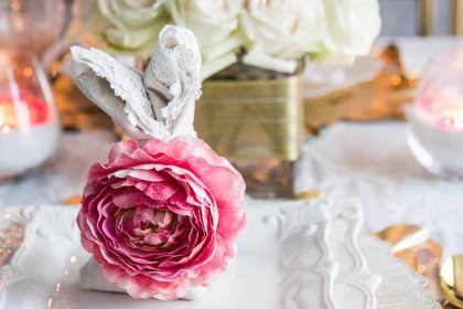 pink and white easter tablescape place setting