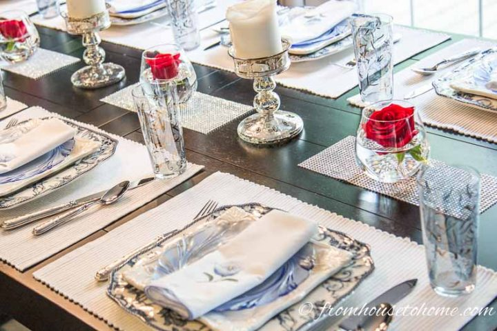 Brunch tablescape with alternating roses and candles