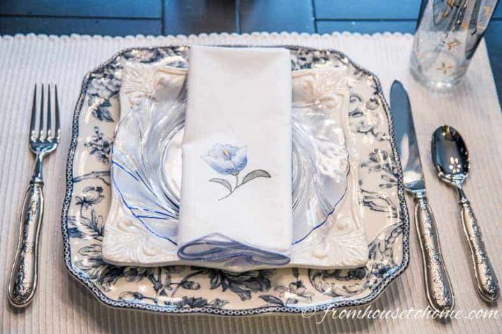 Brunch place setting with 3 different plate patterns