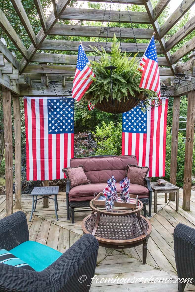Small flags in a hanging basket are easy 4th of July patriotic decor