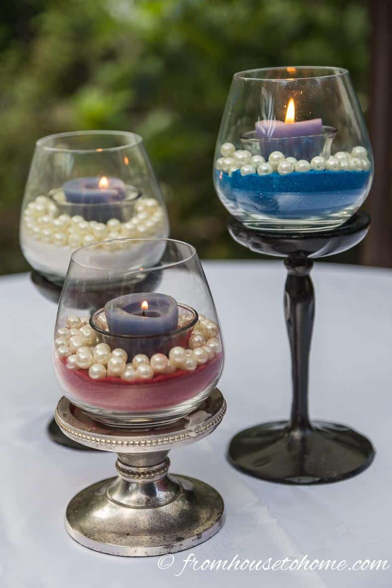 Red, white and and blue DIY candle holders