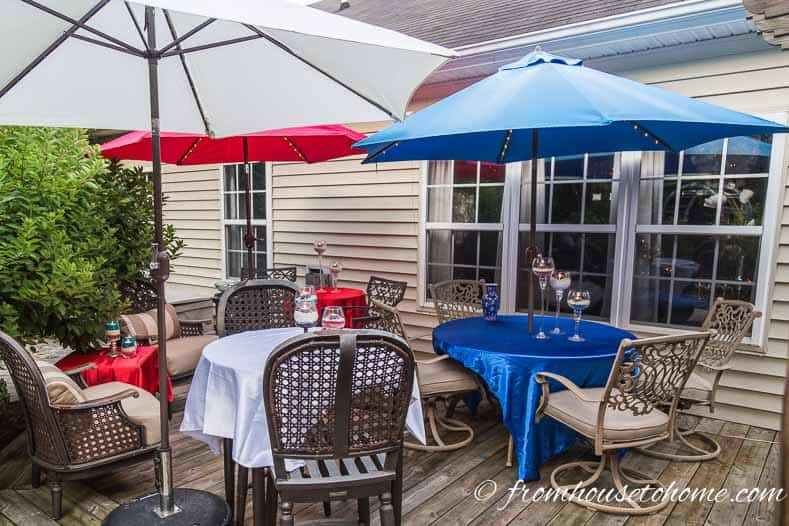 Red, white and blue umbrella covers create festive Independence Day outdoor decorations