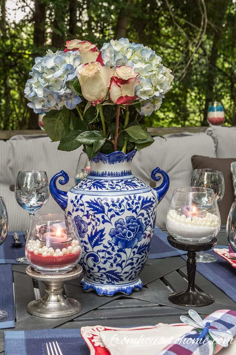 Red, white and blue centerpiece and candles
