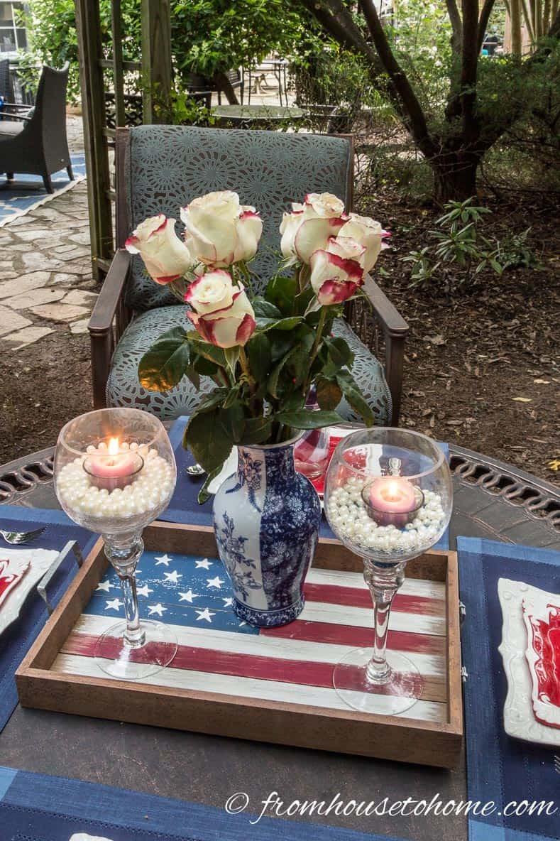 American flag tray centerpiece
