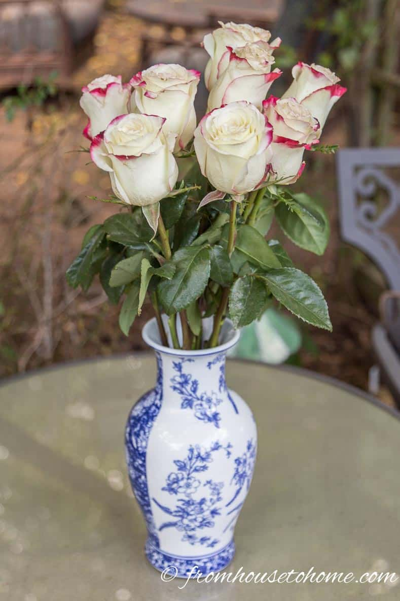 Red and white roses in blue and white vases