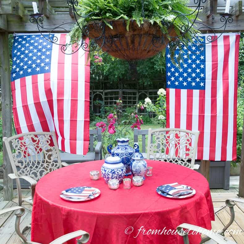 Red and white flowers in the garden compliment the 4th of July outdoor decor
