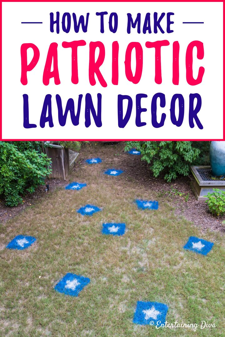 patriotic lawn decor blue and white stars on the grass