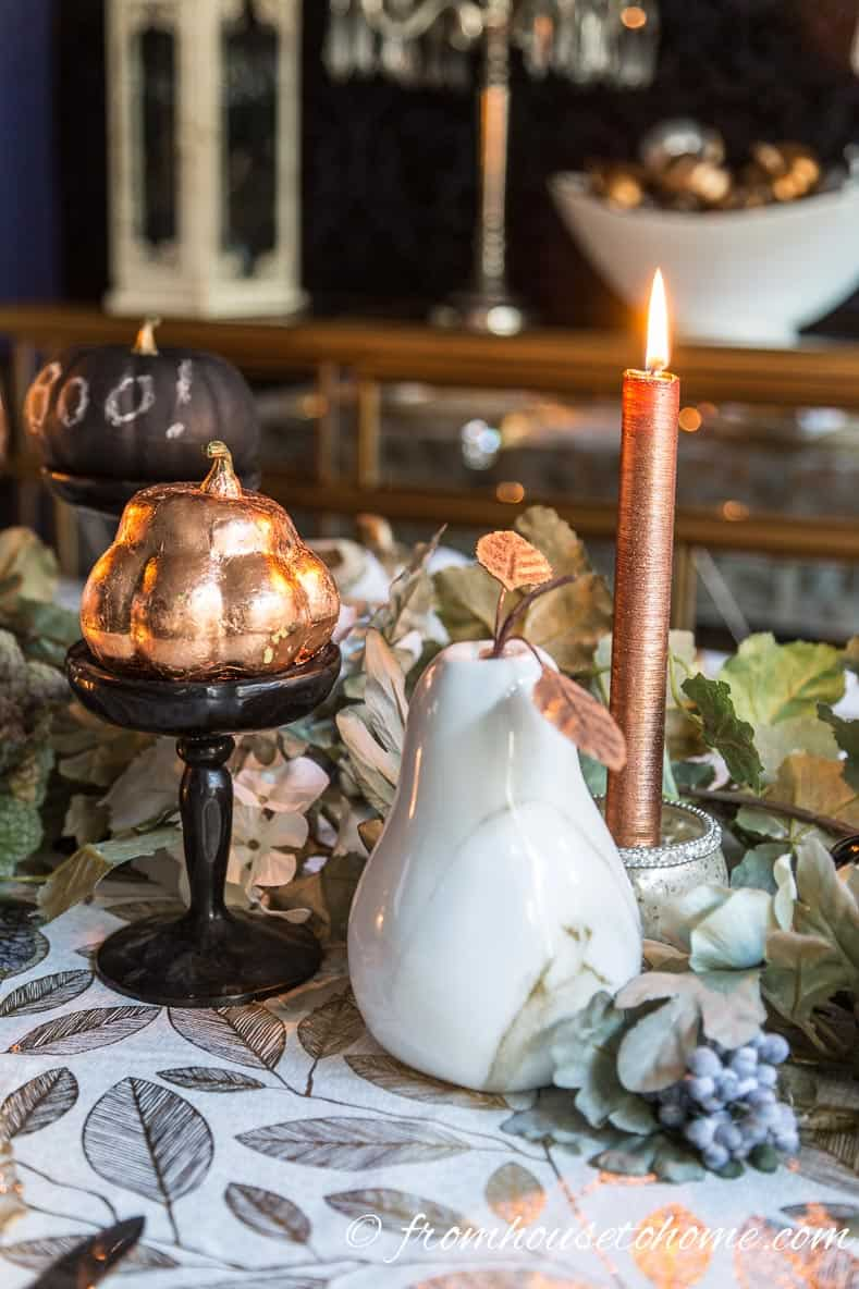 Copper fall table candle and pumpkins