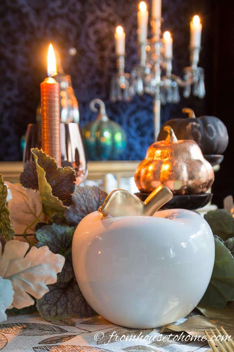 Copper fall table centerpiece
