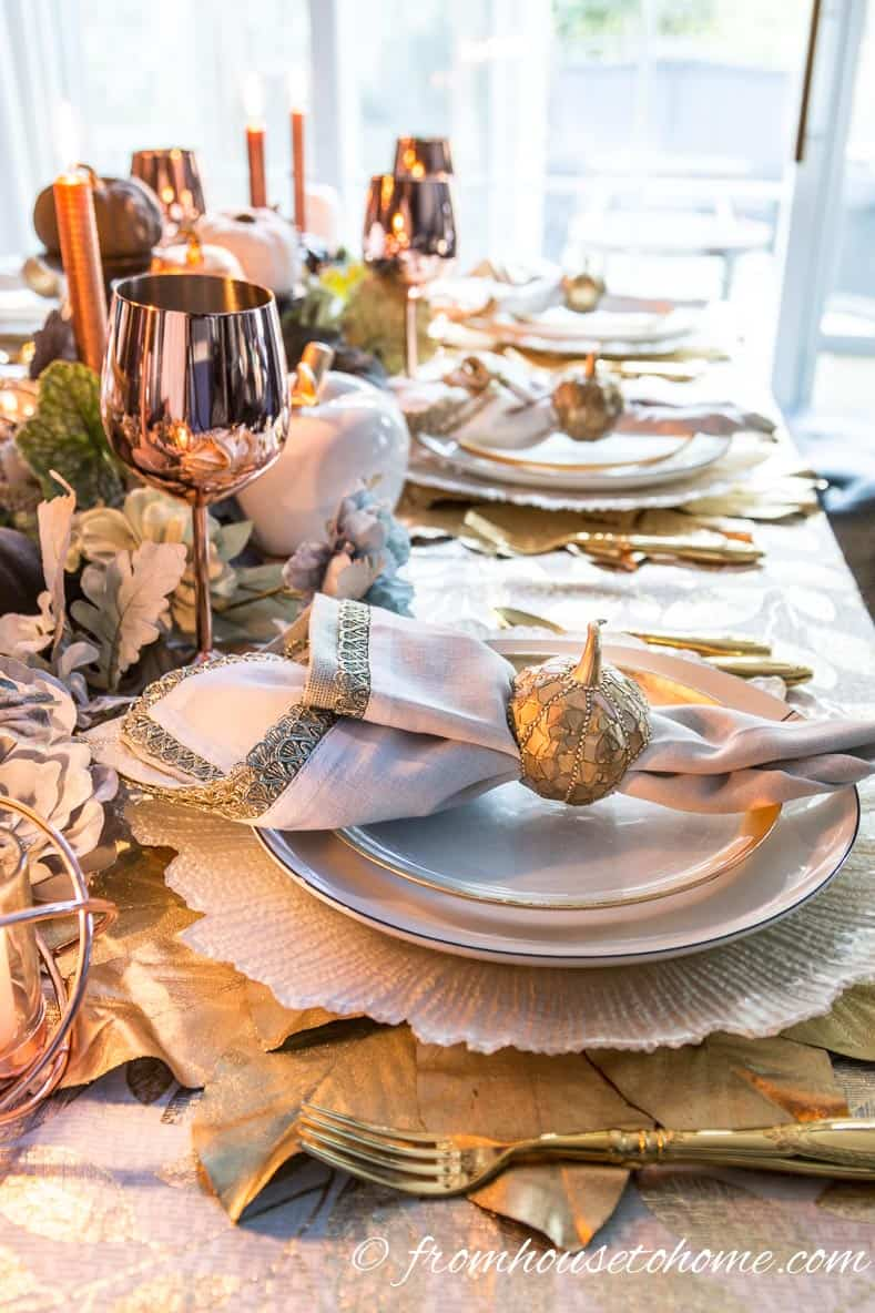Copper fall table settings