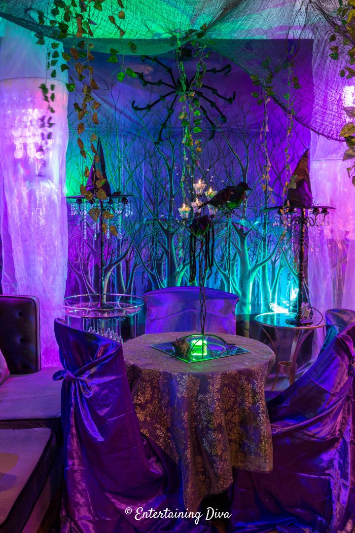 Spooky forest scene setter at a Maleficent themed Halloween party