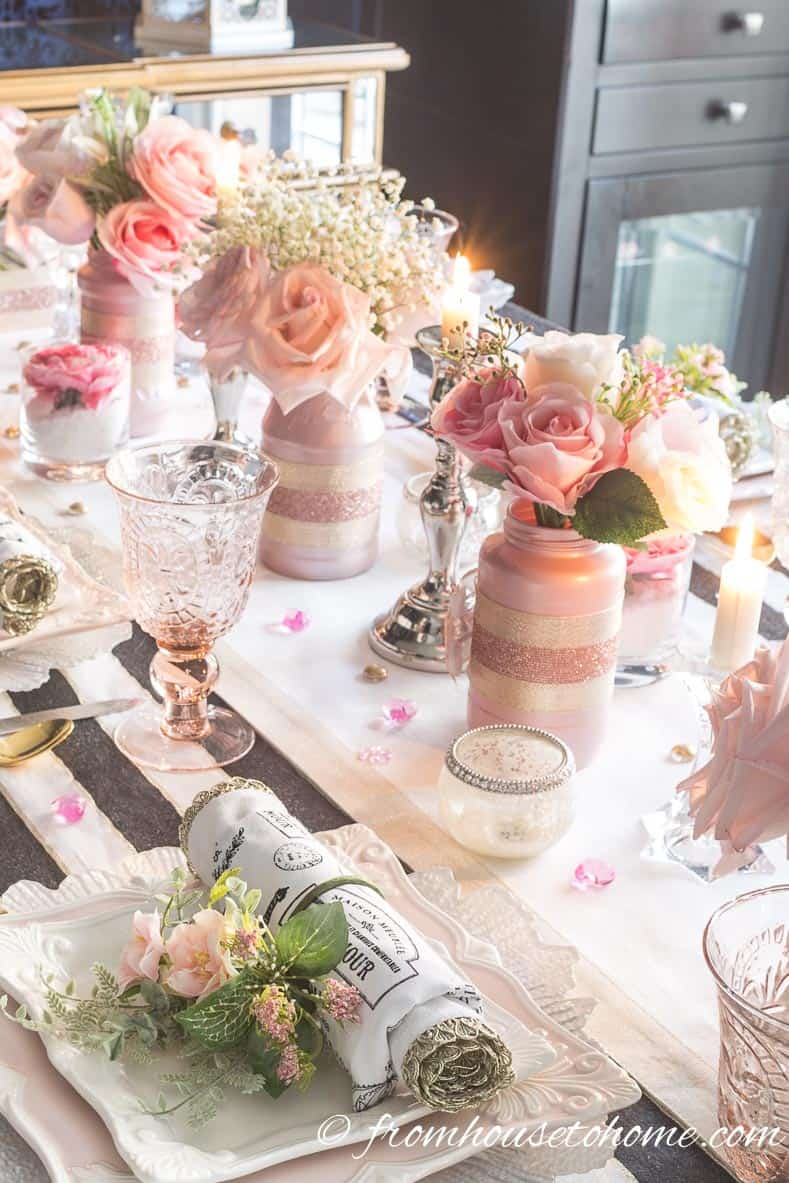 Blush pink floral centerpiece with roses