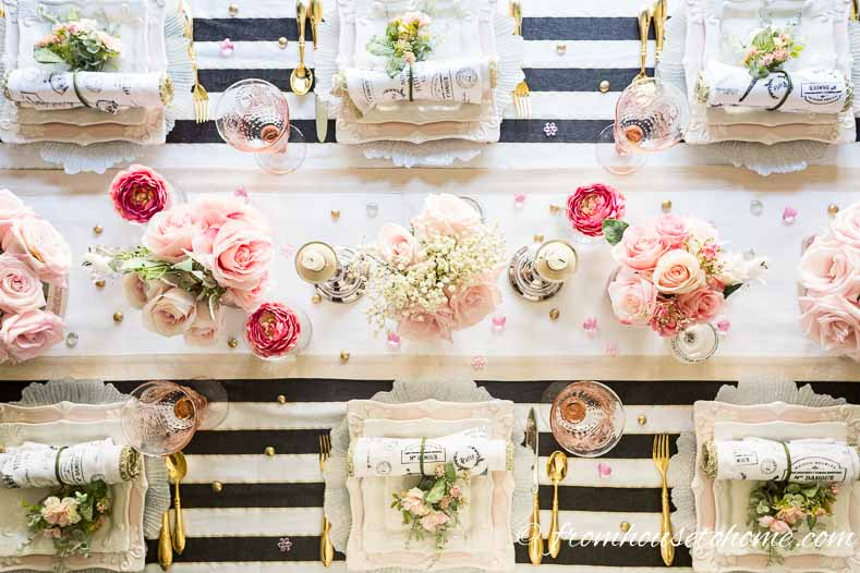 Black, white and blush pink tablescape overhead view