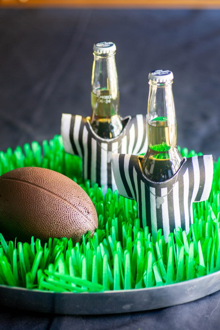 Referee beer koozies as football party decorations
