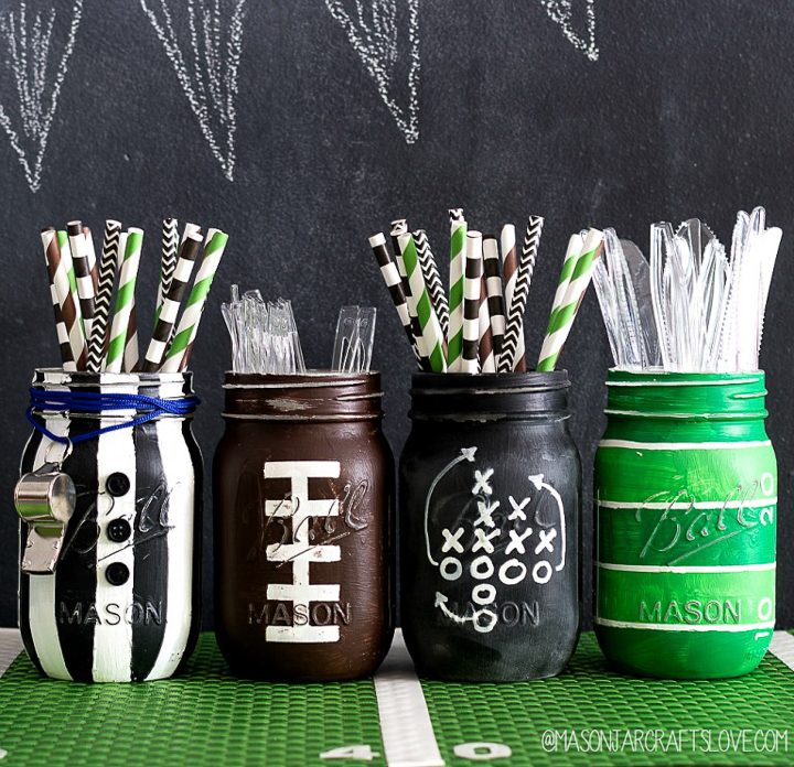 DIY football party mason jars via masonjarcraftslove.com