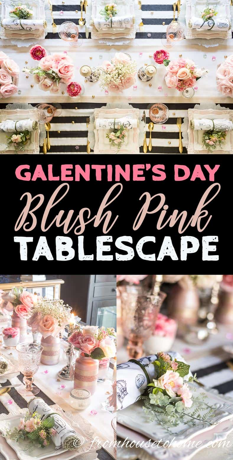 Galentine's Day romantic blush pink tablescape