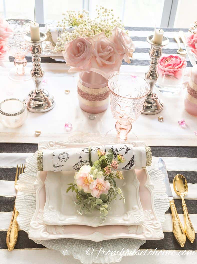 Galentine's Day blush pink place setting with roses