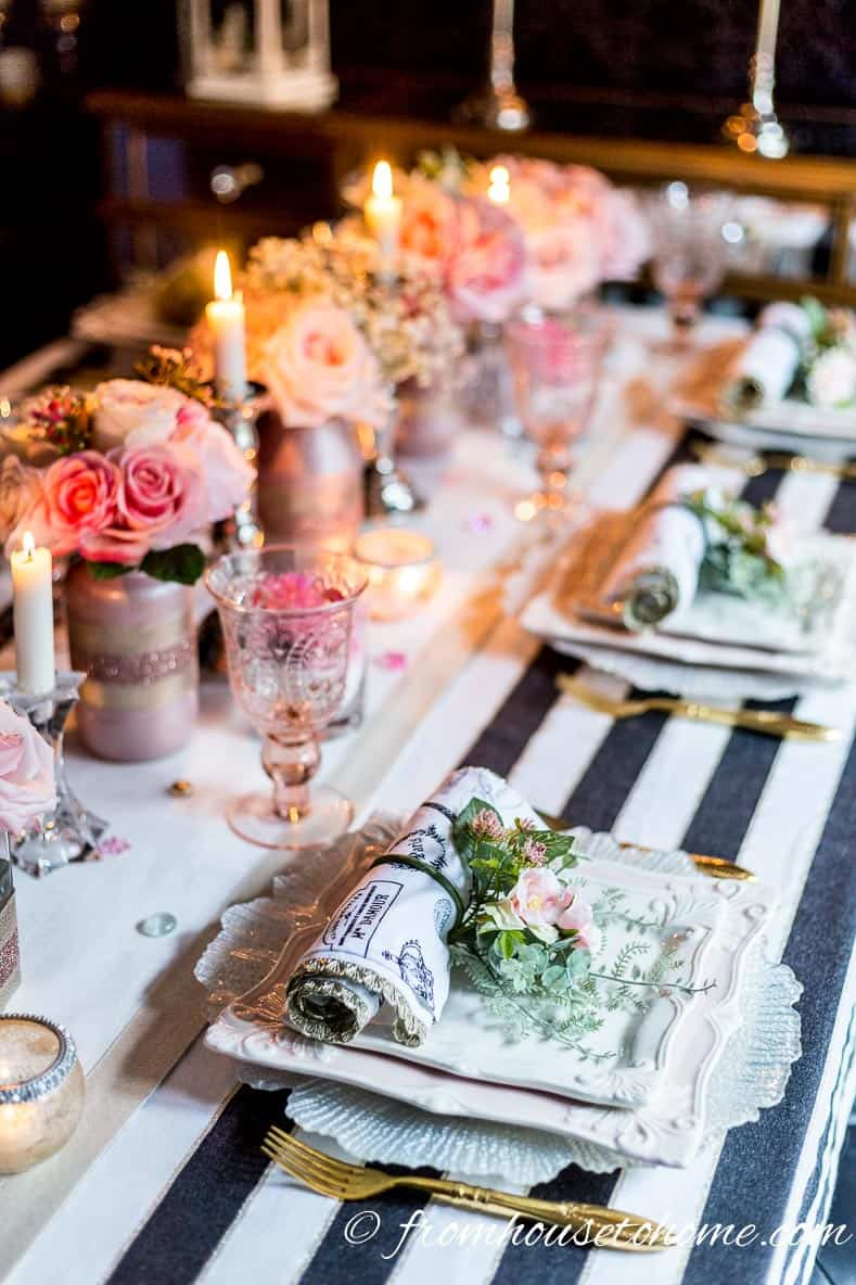 Galentine's Day blush pink table setting