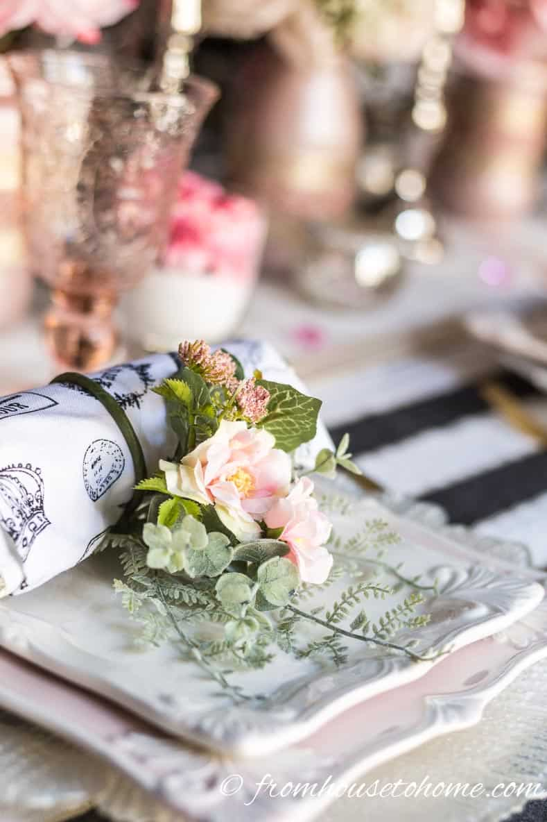 Rose with fern napkin ring