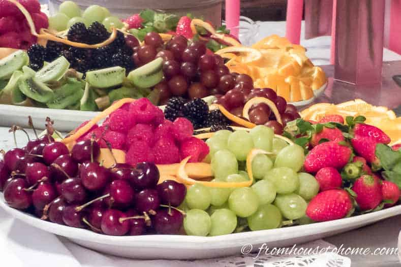 The fruit tray on the buffet