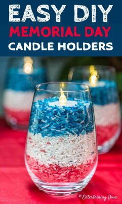 4th of July decor rice candle holders