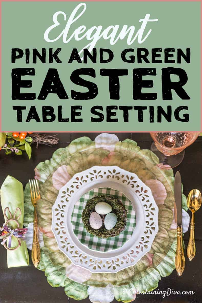 easter tablescape pink and green