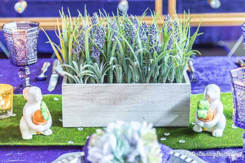 Purple and Green Easter Tablescape centerpiece