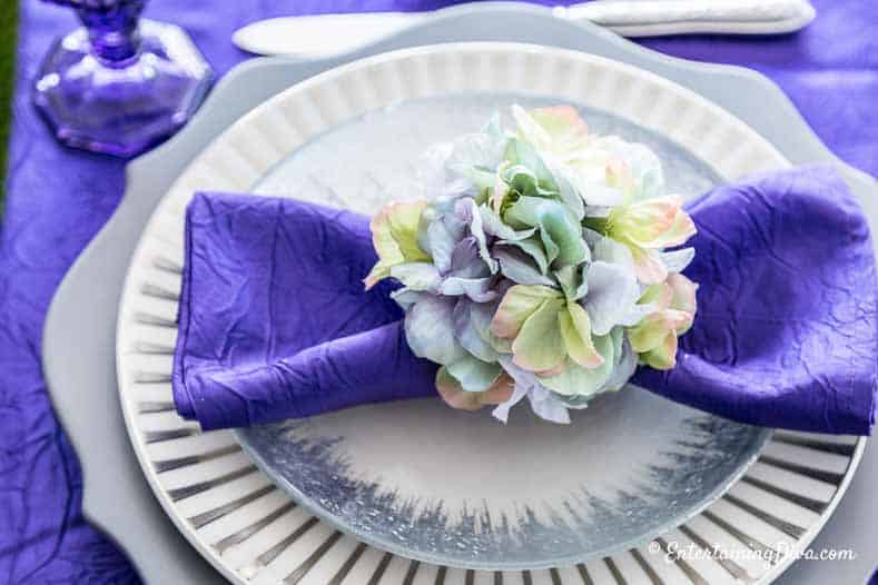Purple and Green Easter Tablescape hydrangea napkin ring