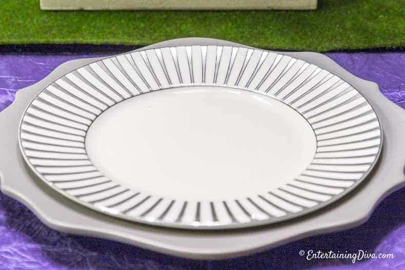 Purple and Green Easter Tablescape white and silver plates
