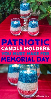 red white and blue candleholders