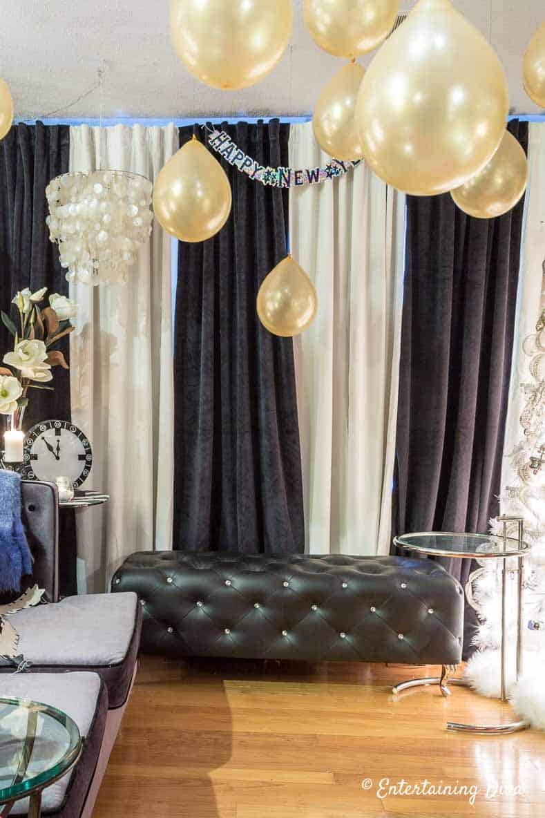 kate spade themed party decor black and white curtains