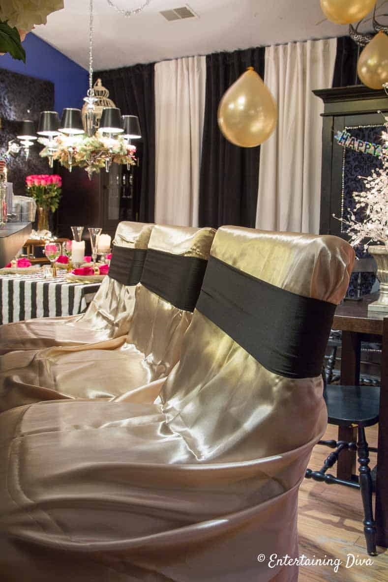 kate spade themed party decor ideas gold chair covers