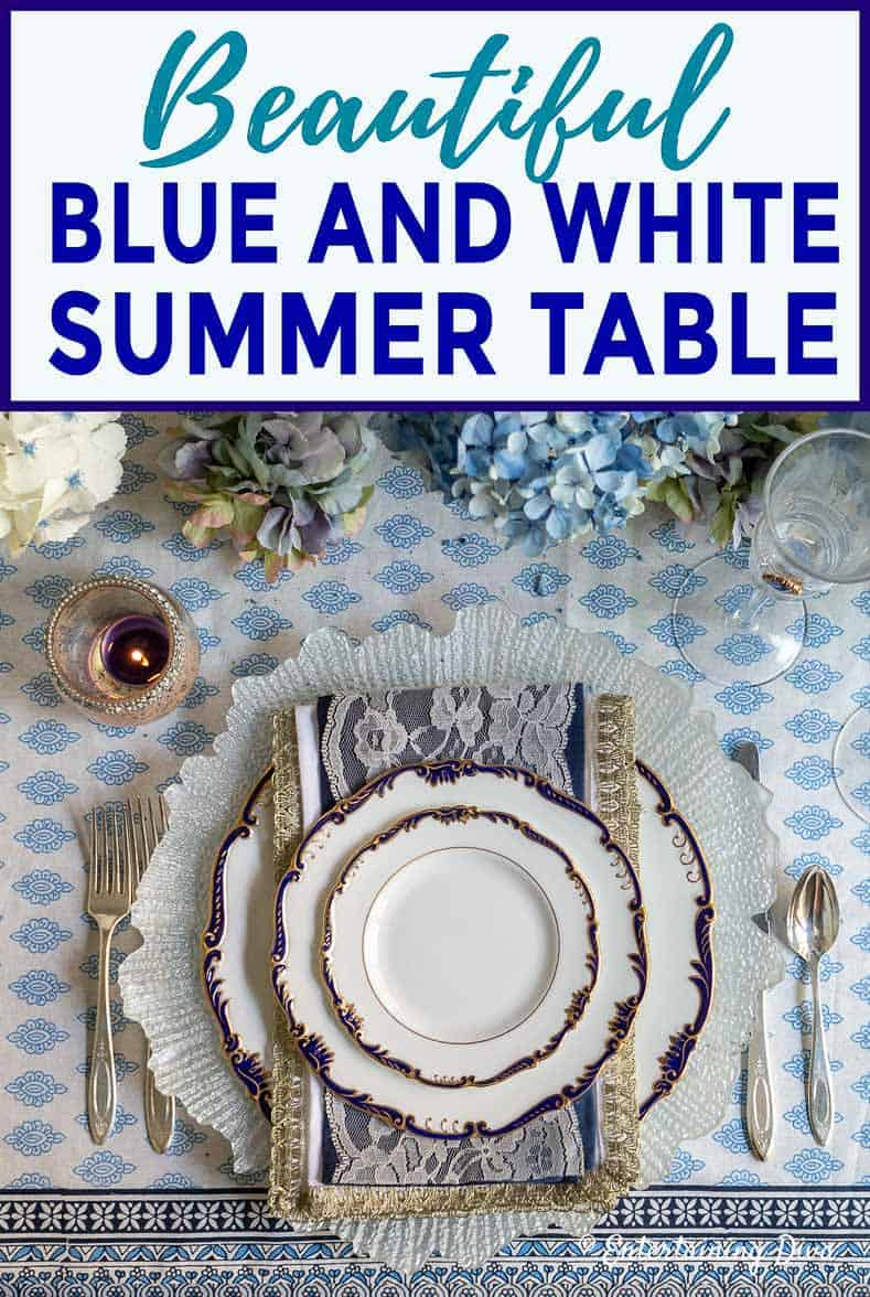 beautiful blue and white summer table